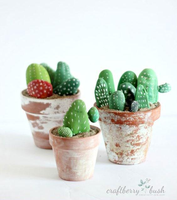 pintar-piedras-cactus-naturaleza