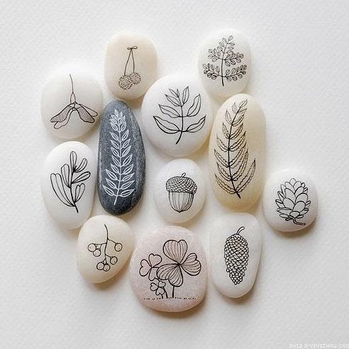pintar-piedras-frutos-naturaleza